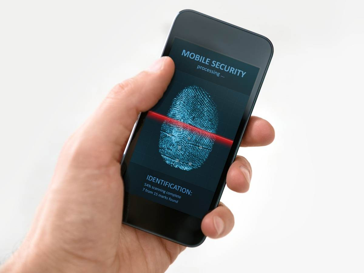 22411095 - hand holding modern mobile phone showing a process of scanning fingerprint on a screen isolated on white background