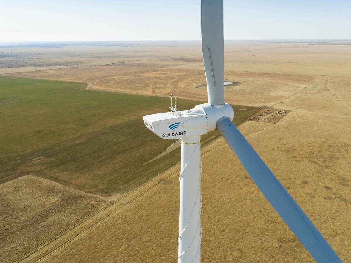 Drone footage of Goldwind turbine and the west Texas prairie