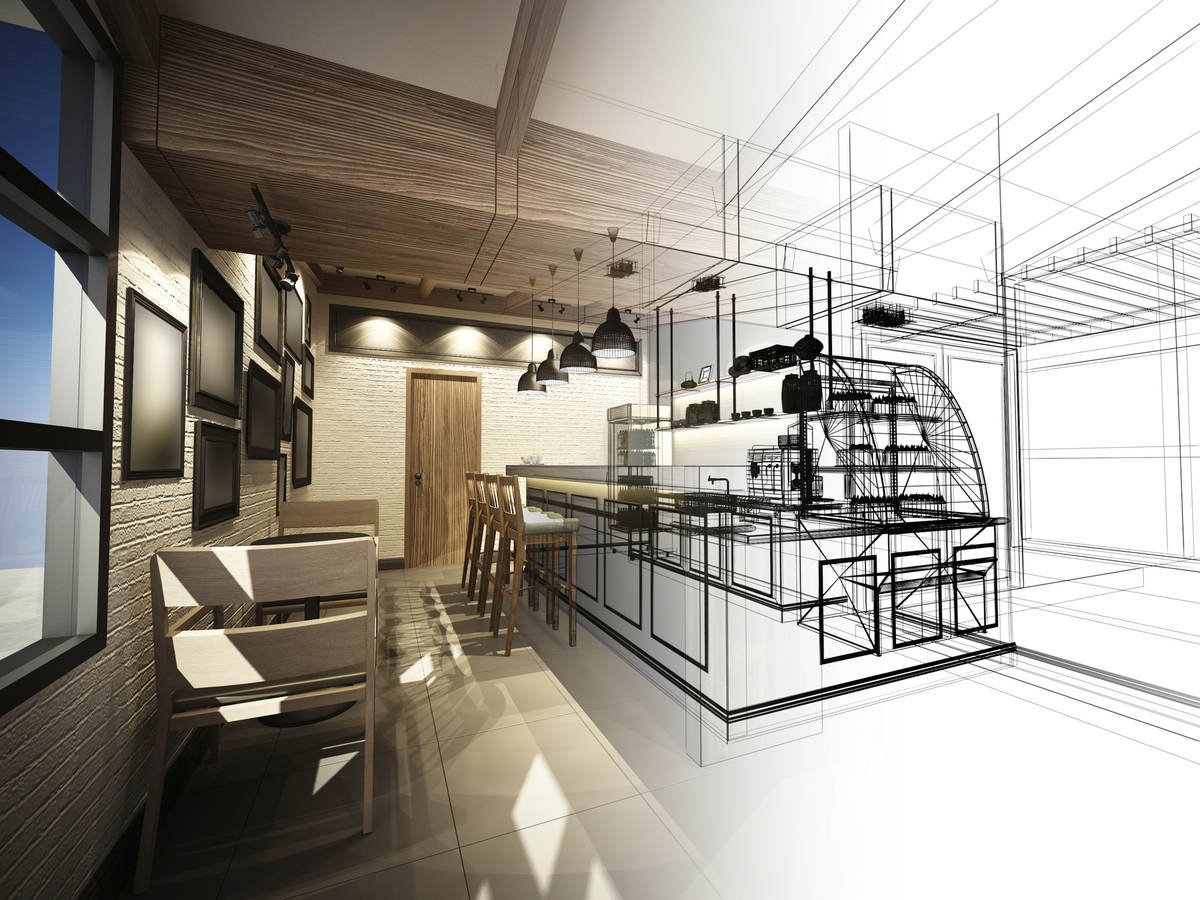 Interior design software being used to create a digital rendering of a coffee shop.