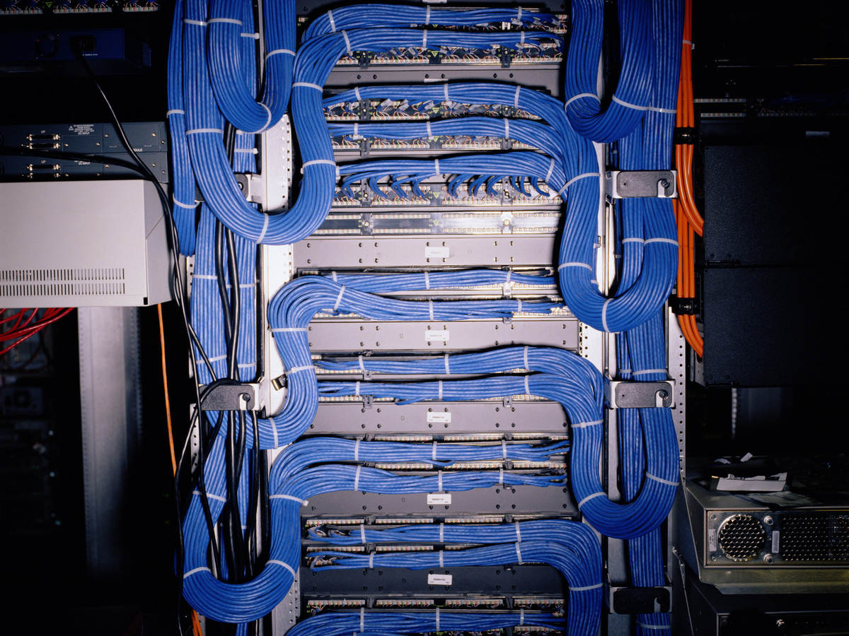 A close-up image of blue telecommunications cable.