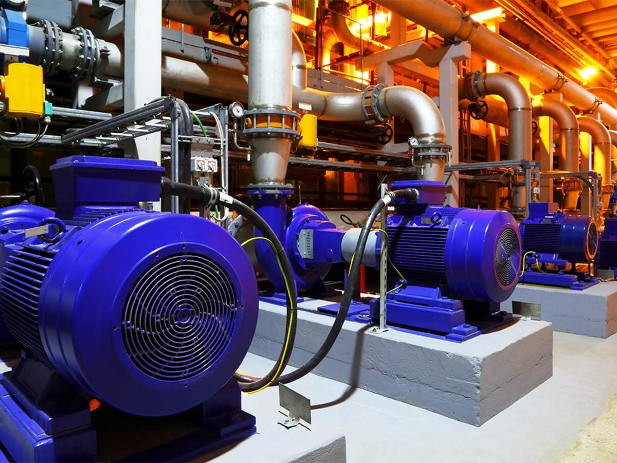 Row of motors powering a pumping system
