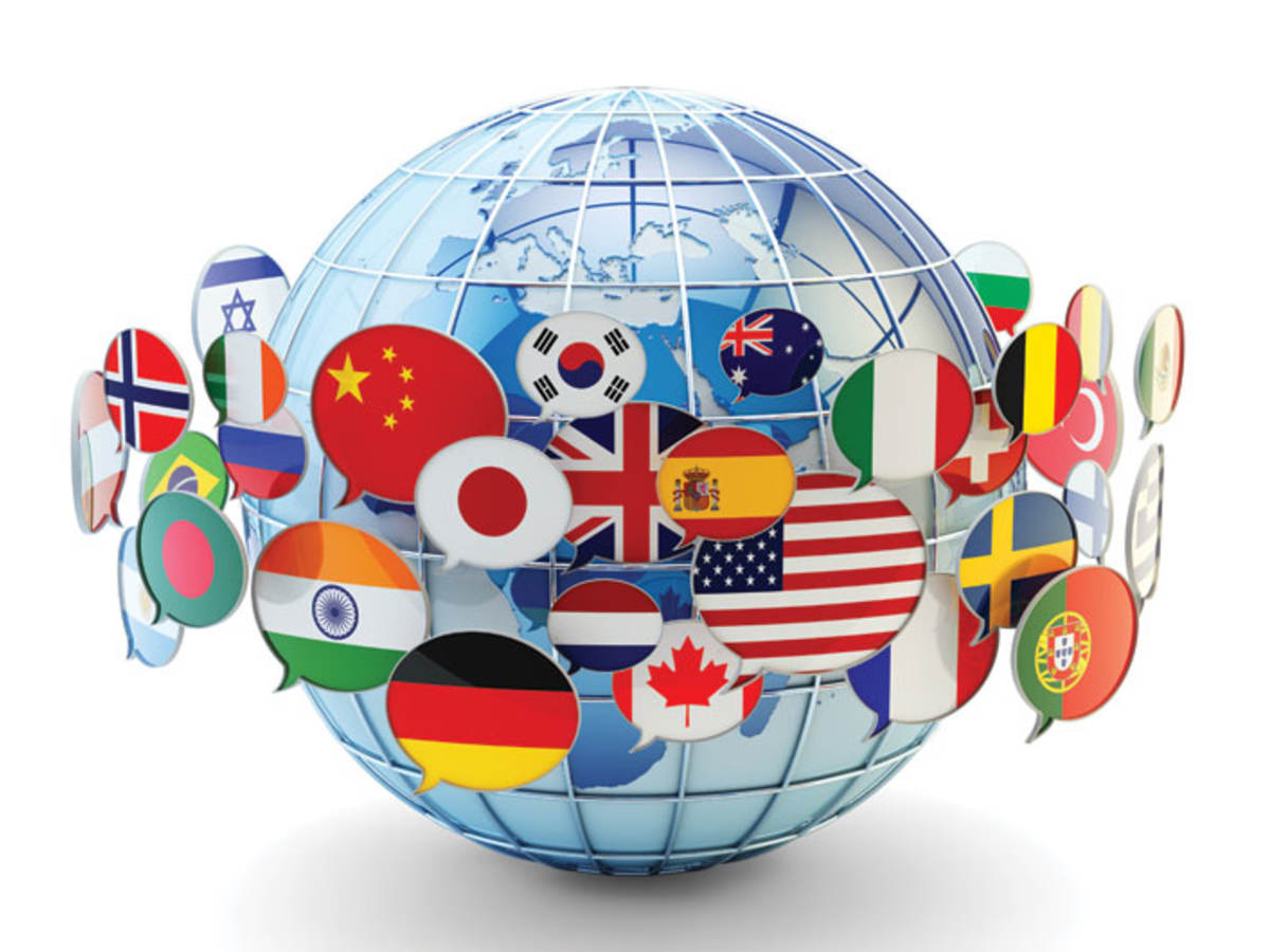 globe with flags from across the world