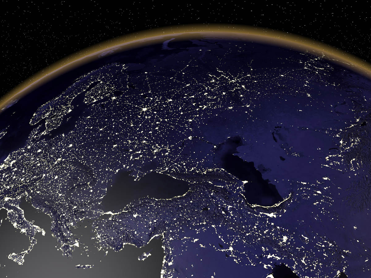 A view of Europe at night from space