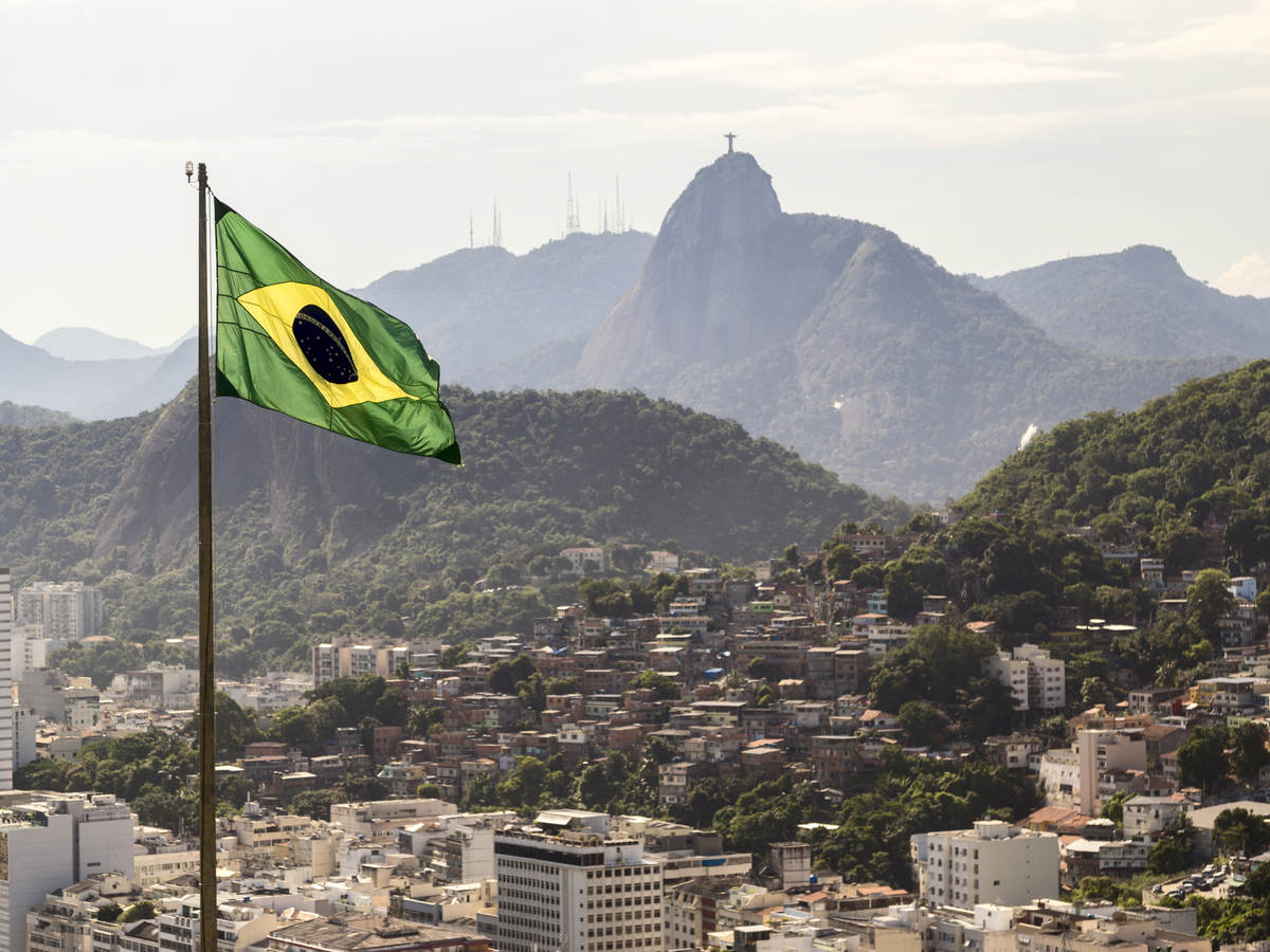 View of Brazil and waving Brazilian flag