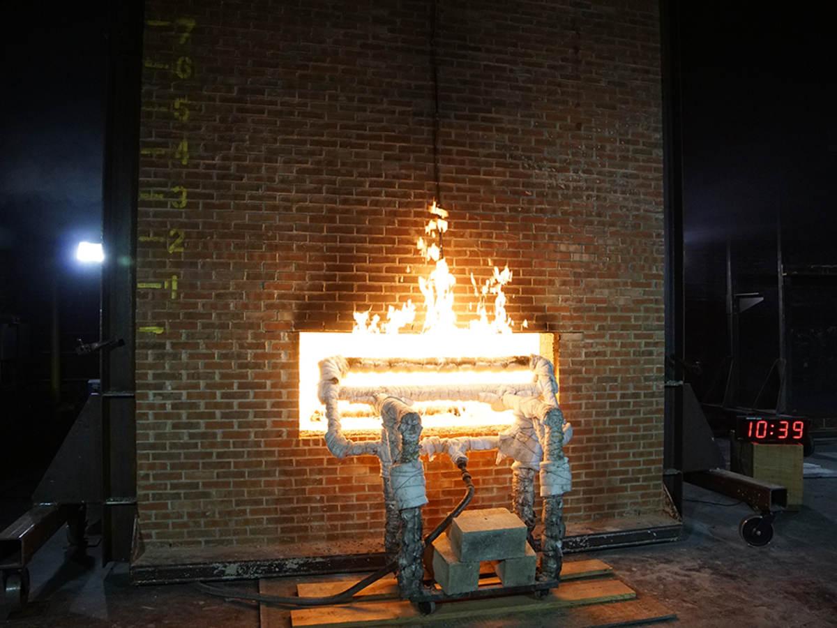 Fire in test furnace