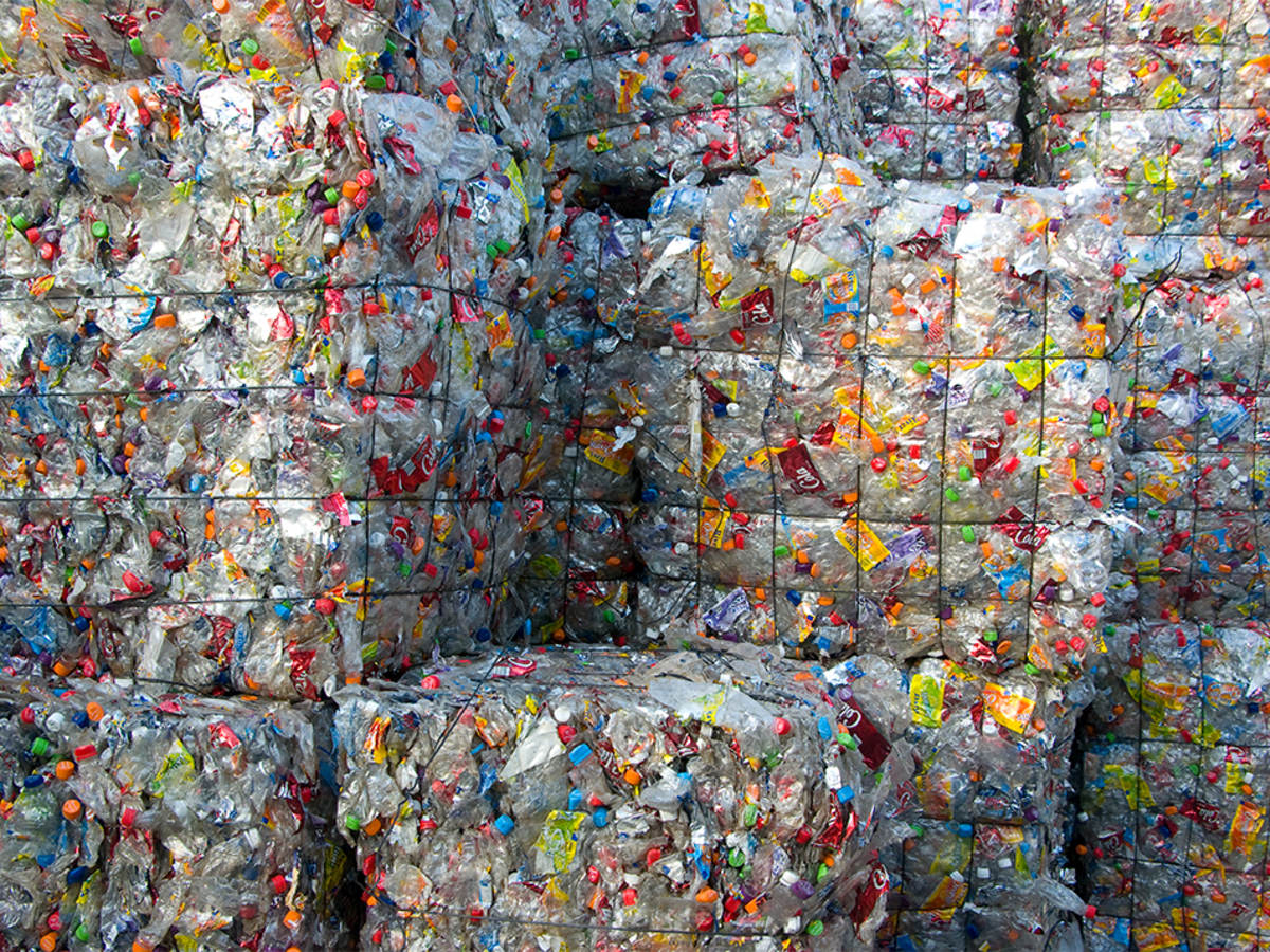 Cubes of crushed plastic bottles waiting for recycling