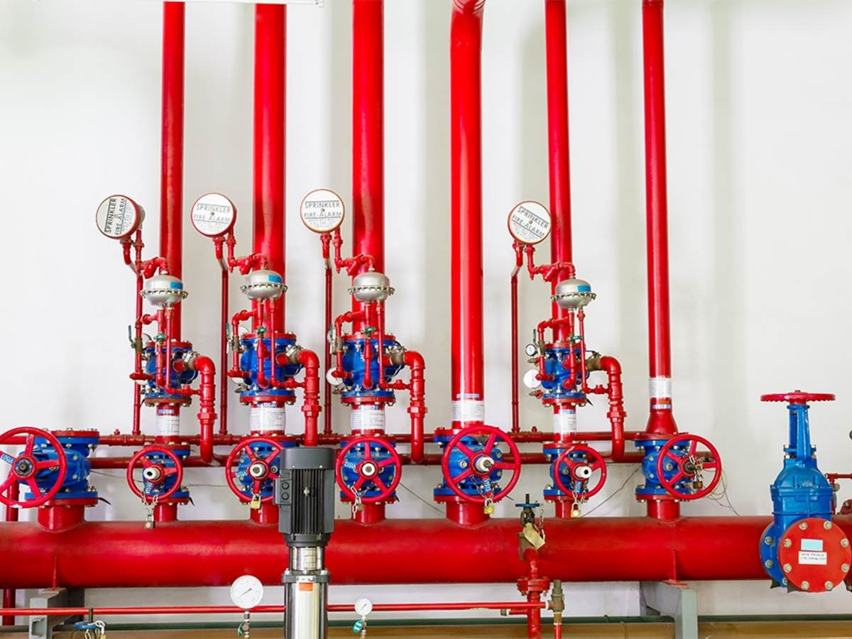 A row of fire valves