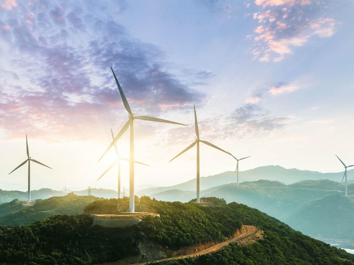 Wind turbines on large hills