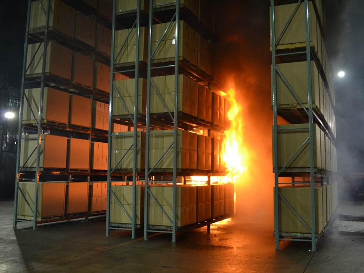 Mock warehouse fire during safety testing