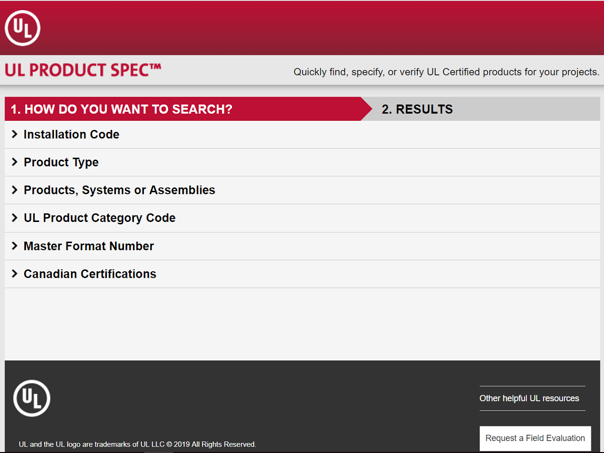 Screenshot of the UL Product Spec homepage.