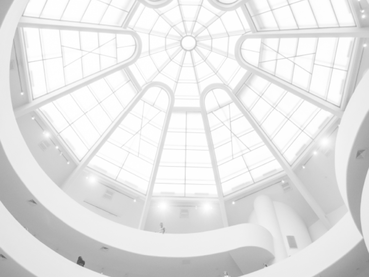 Upward shot of glass ceiling in an atrium