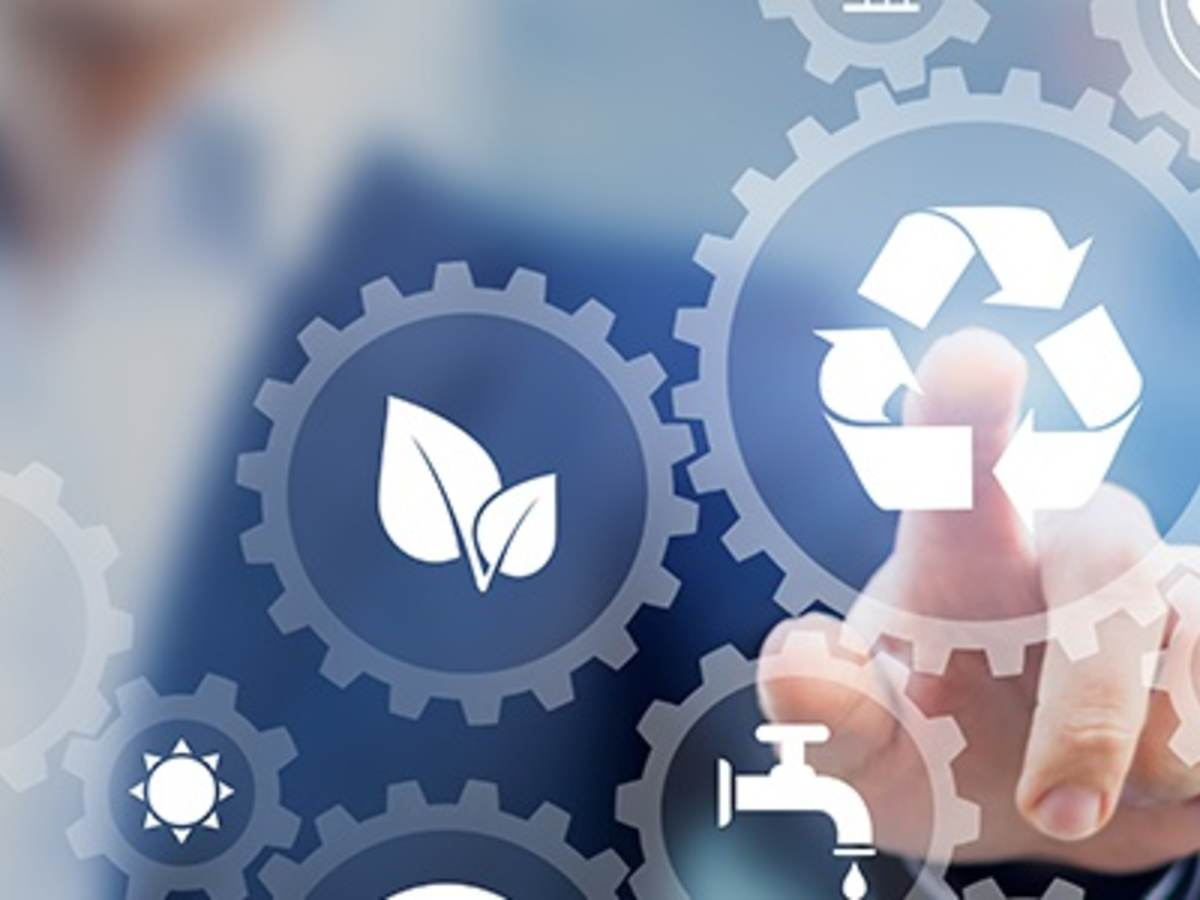 icons such as leaves, reuse, water and so forth depict the circular economy