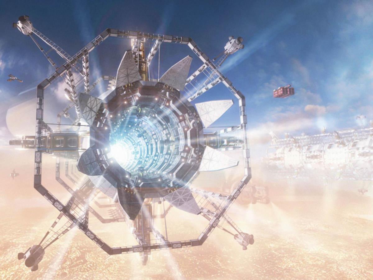 A futuristic spaceship in outer space.
