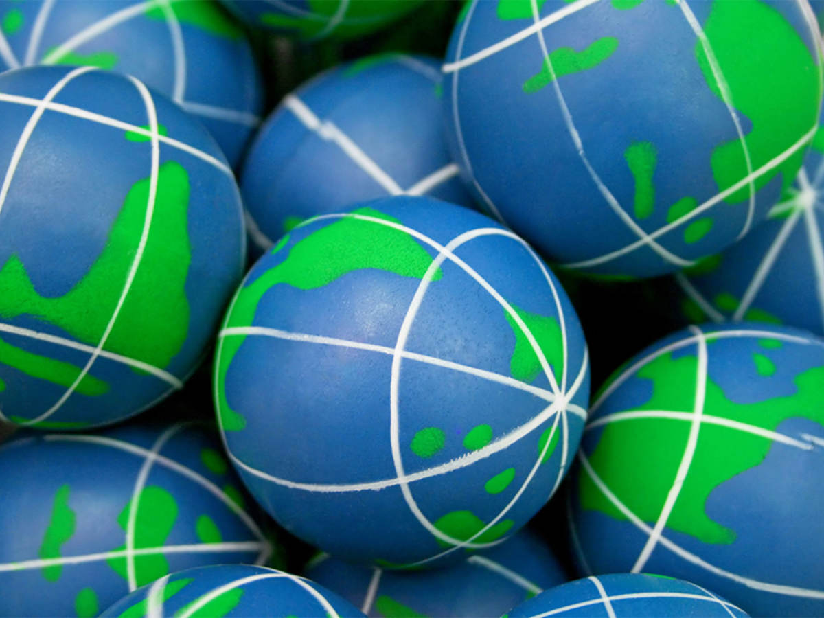 Close-up of squishy balls that look like the Earth.