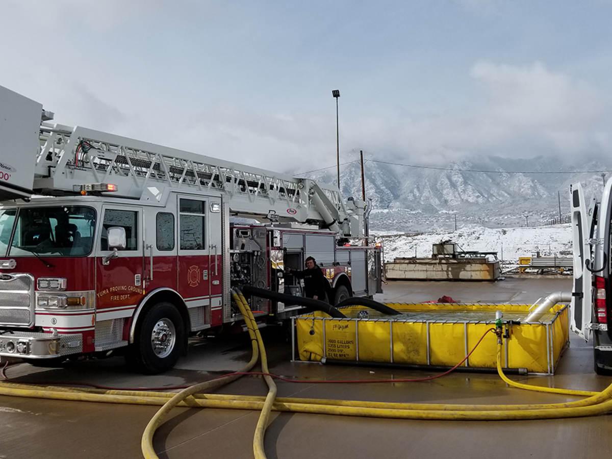 Fire truck undergoing pump testing