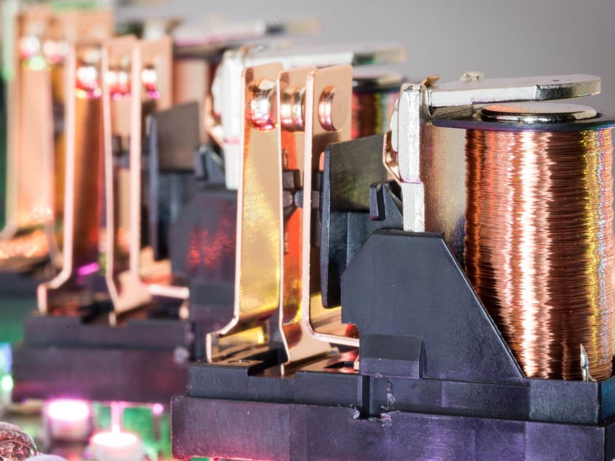 A group of relay switches.