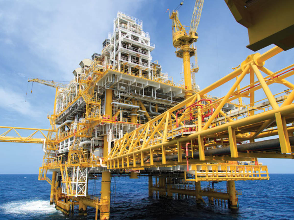 Yellow oil platform on the water