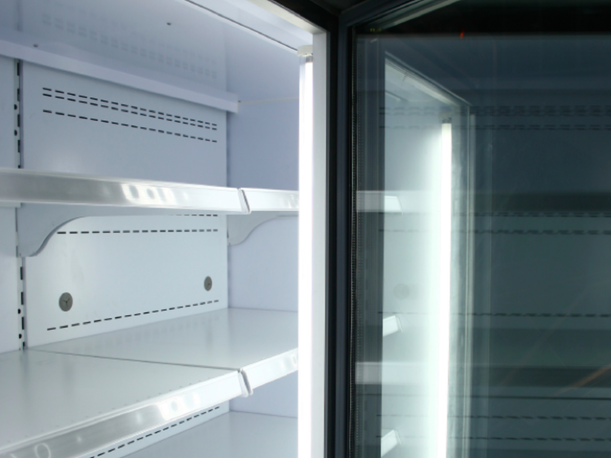 Close up of fridge with door open