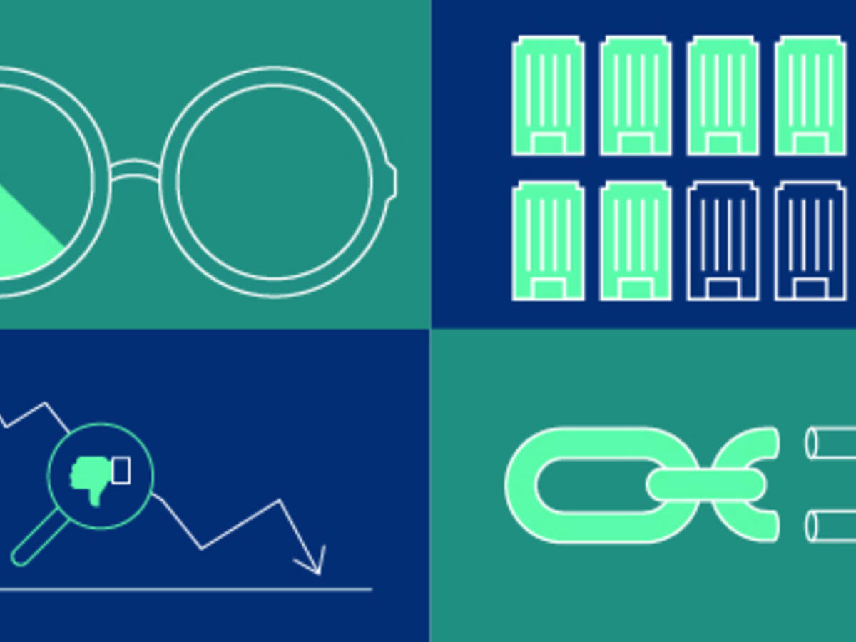 Illustration blue and green with glasses, chain, chart and illustrations
