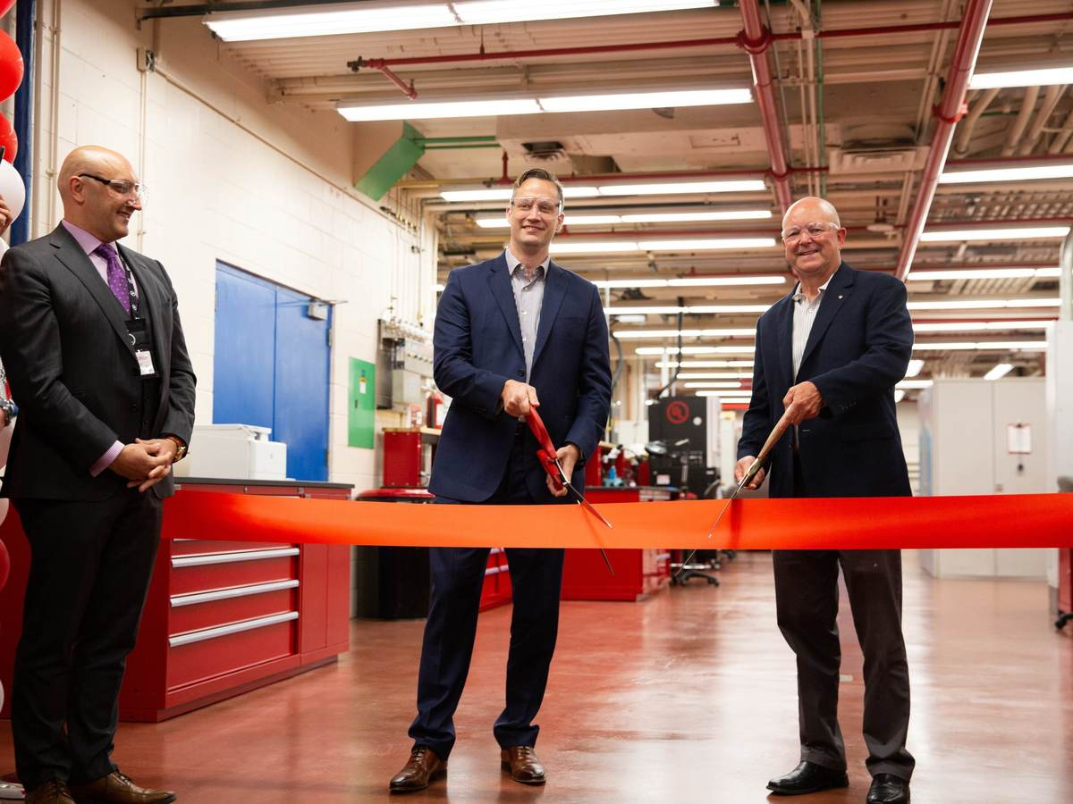 UL's Jeff Smidt VP & GM,  Milan Dotlich VP EPT NA & EMEA-LA, and Stephen Hewson is the SVP of Laboratory Operations cut ribbon of newly expanded Hazardous Locations Lab in Northbrook, IL.