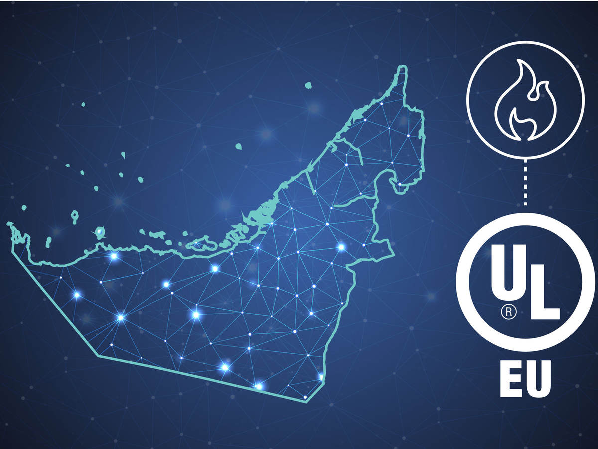 Stylized map of the UAE with UL logo