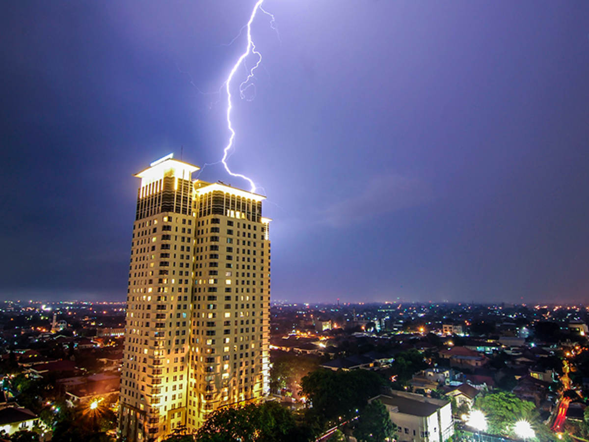lightning striking building