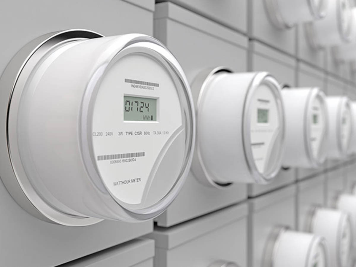 Row of white smart electric meters