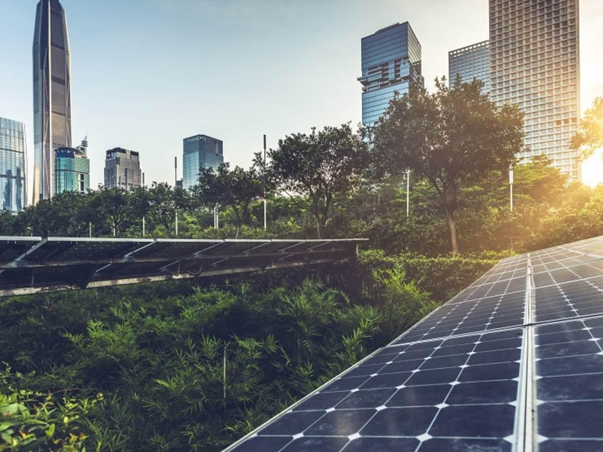 Solar panels dot an urban landscape
