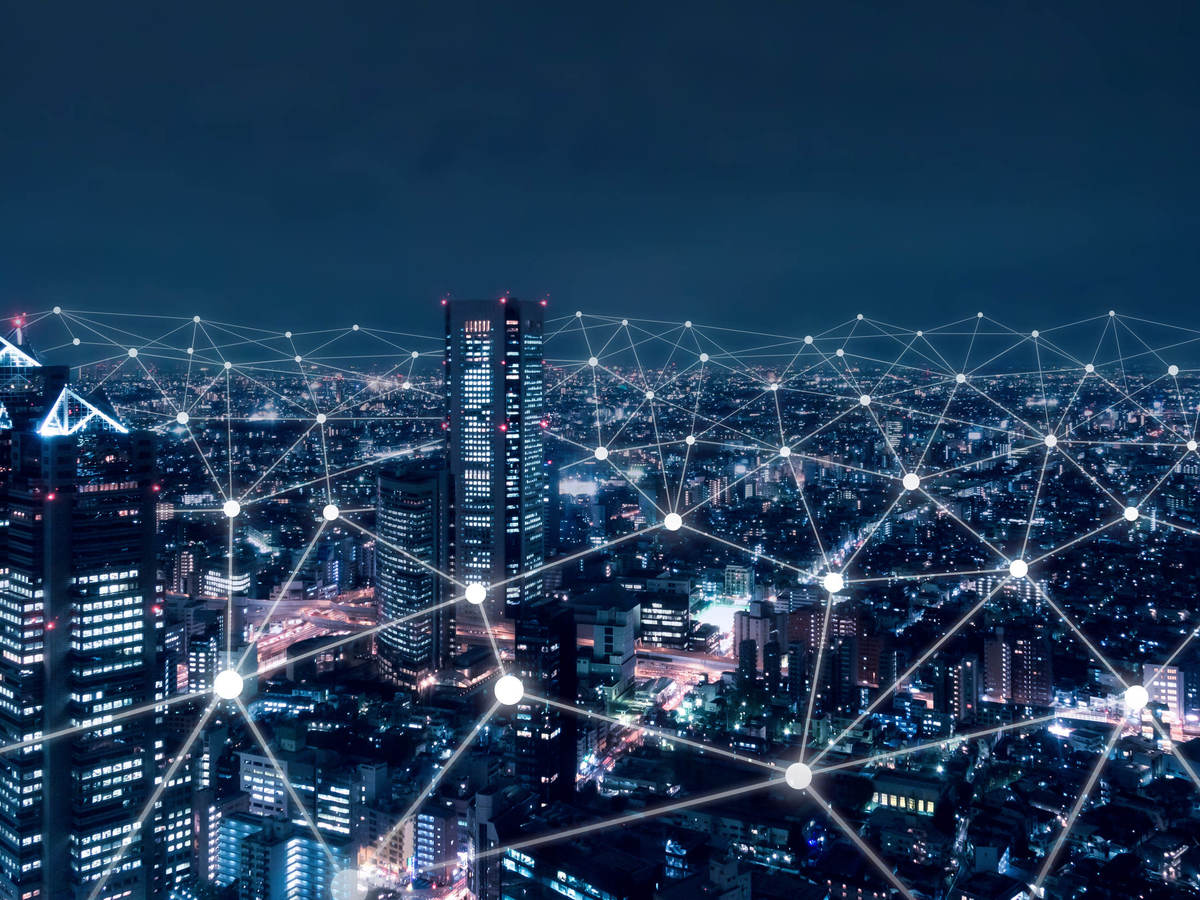 Telecommunications network above city