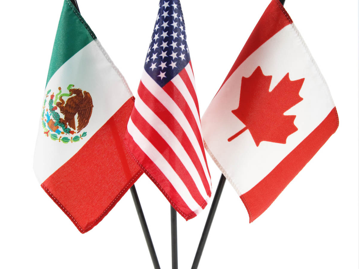 A trio of flags -- Mexico, United States and Canada