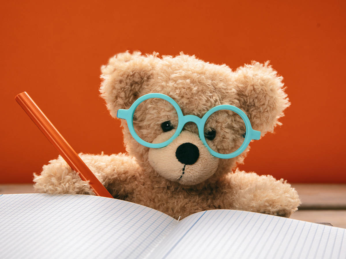 image of a teddy bear wearing glasses