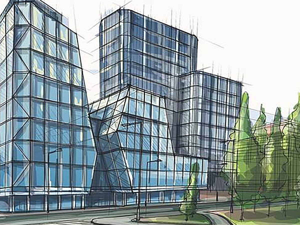Architectural rendering of a glass building next to trees