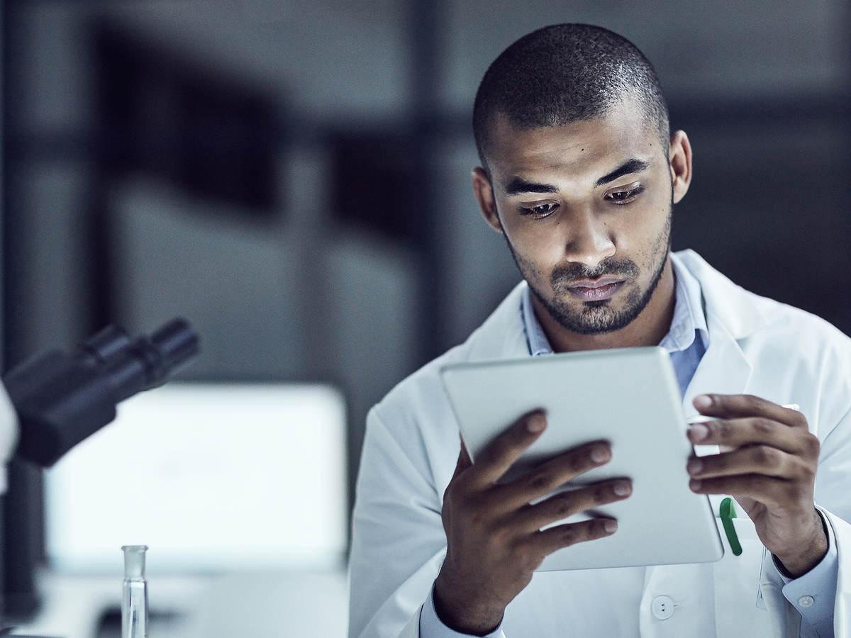 Scientist using an ipad