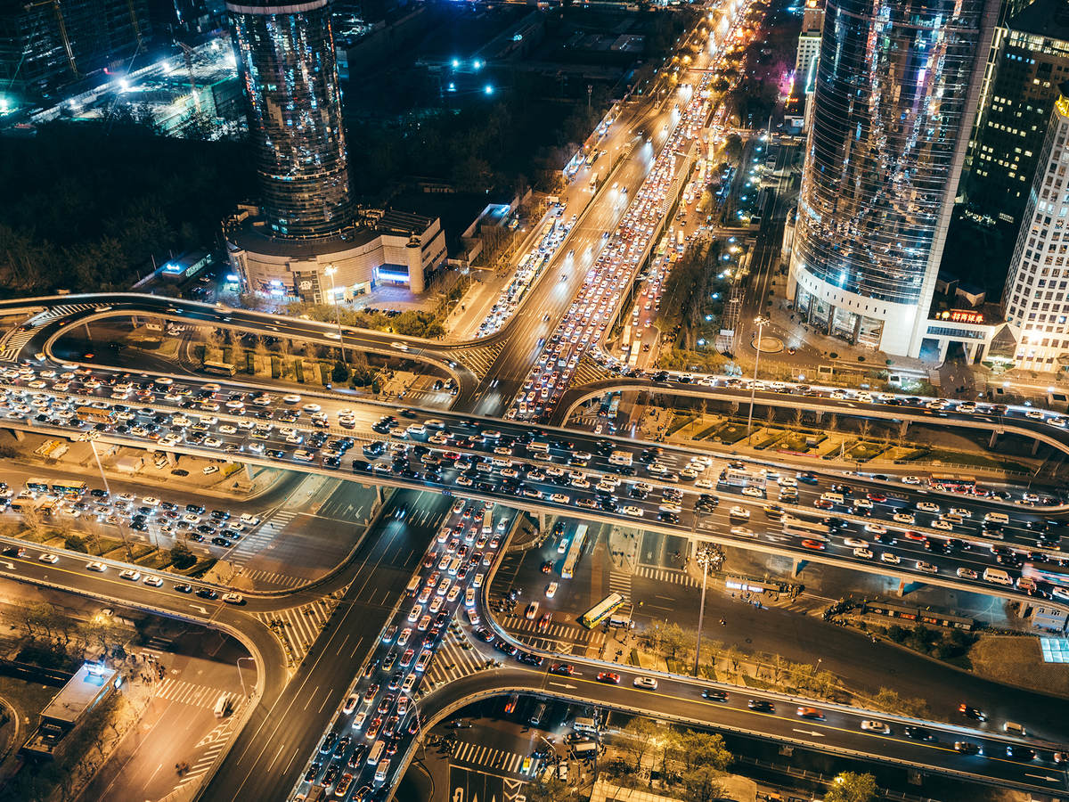 Aerial View of Traffic Jam, Beijing, China