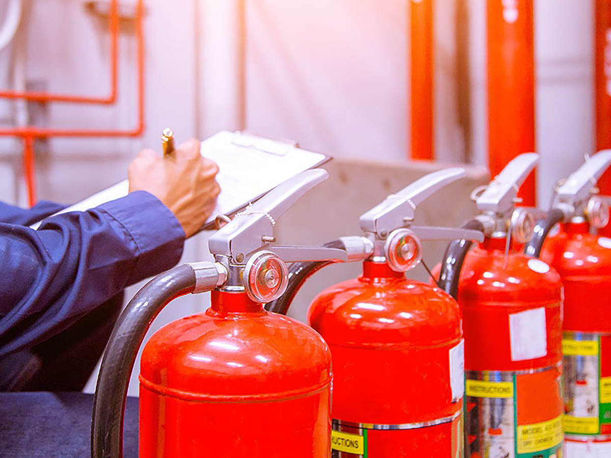 Photo of Engineer checking Industrial fire control system