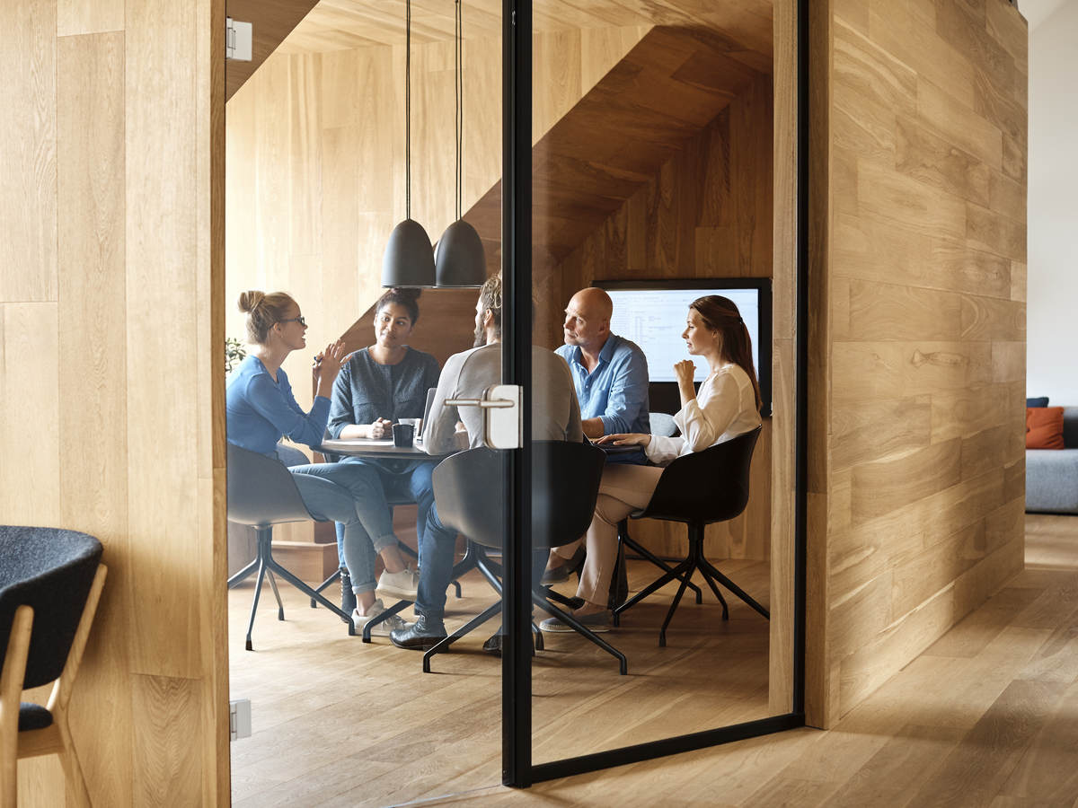 People having a meeting in a meeting room