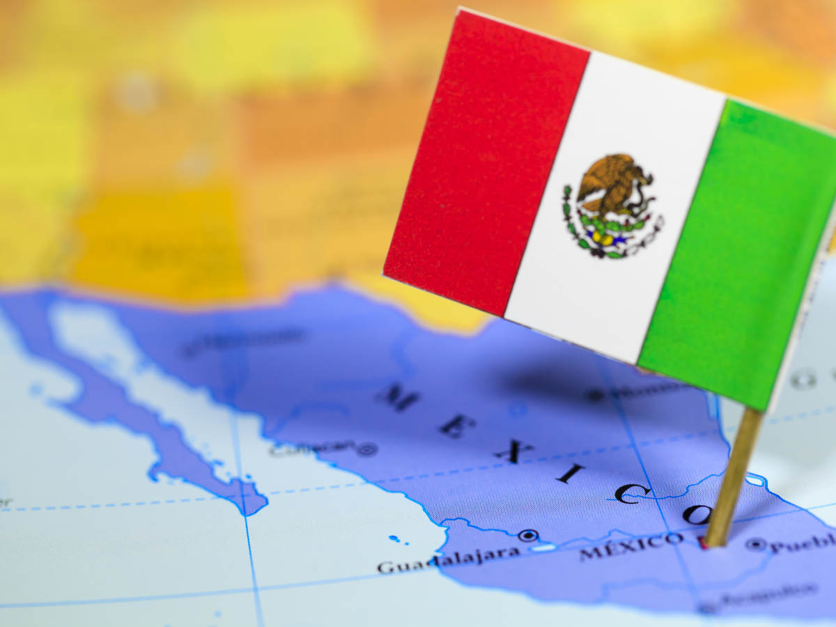 Small Mexico Flag on Map