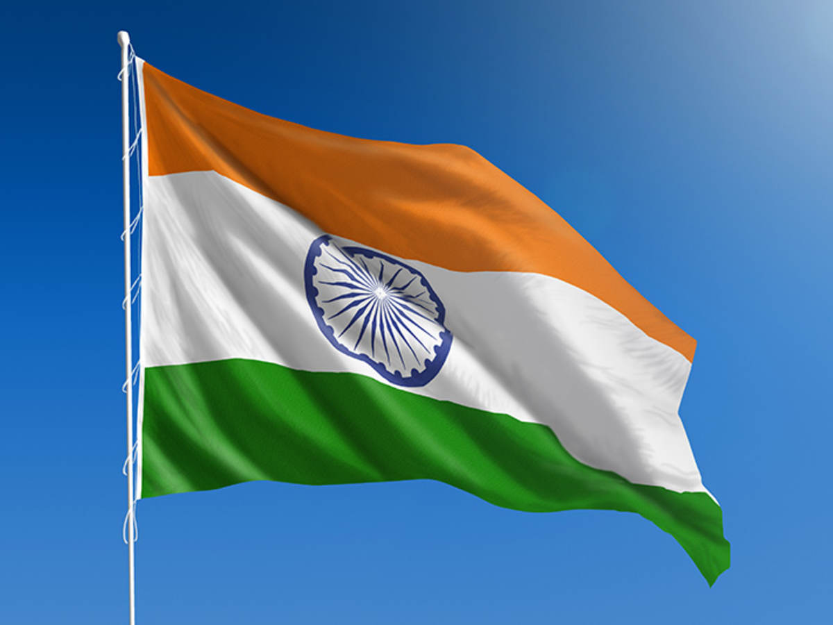 Flag of India against blue sky