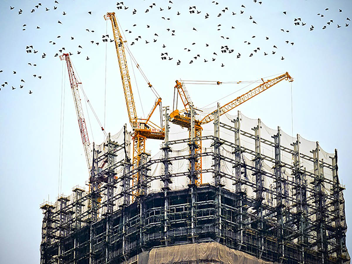 Photo of a tall building under construction with birds flying overhead
