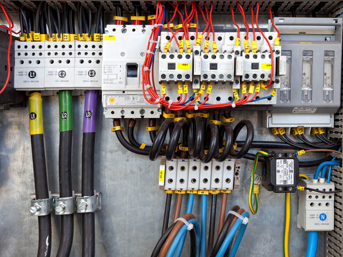 Electrical panel at a assembly line factory. Controls and switches