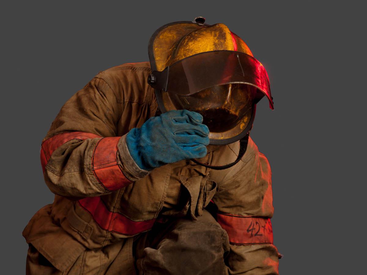 Firefighter wearing unclean gear