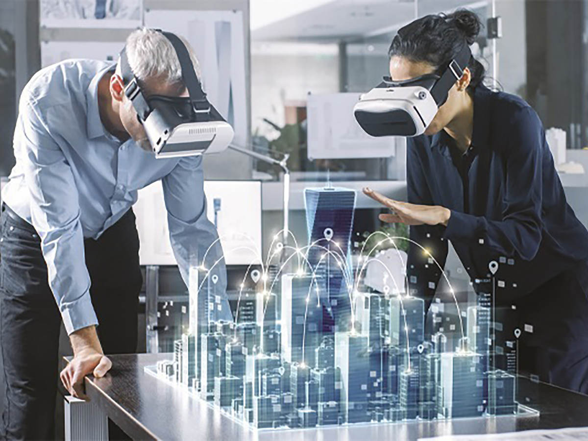 Photo of people using 3D viewer and depiction of technology electronics
