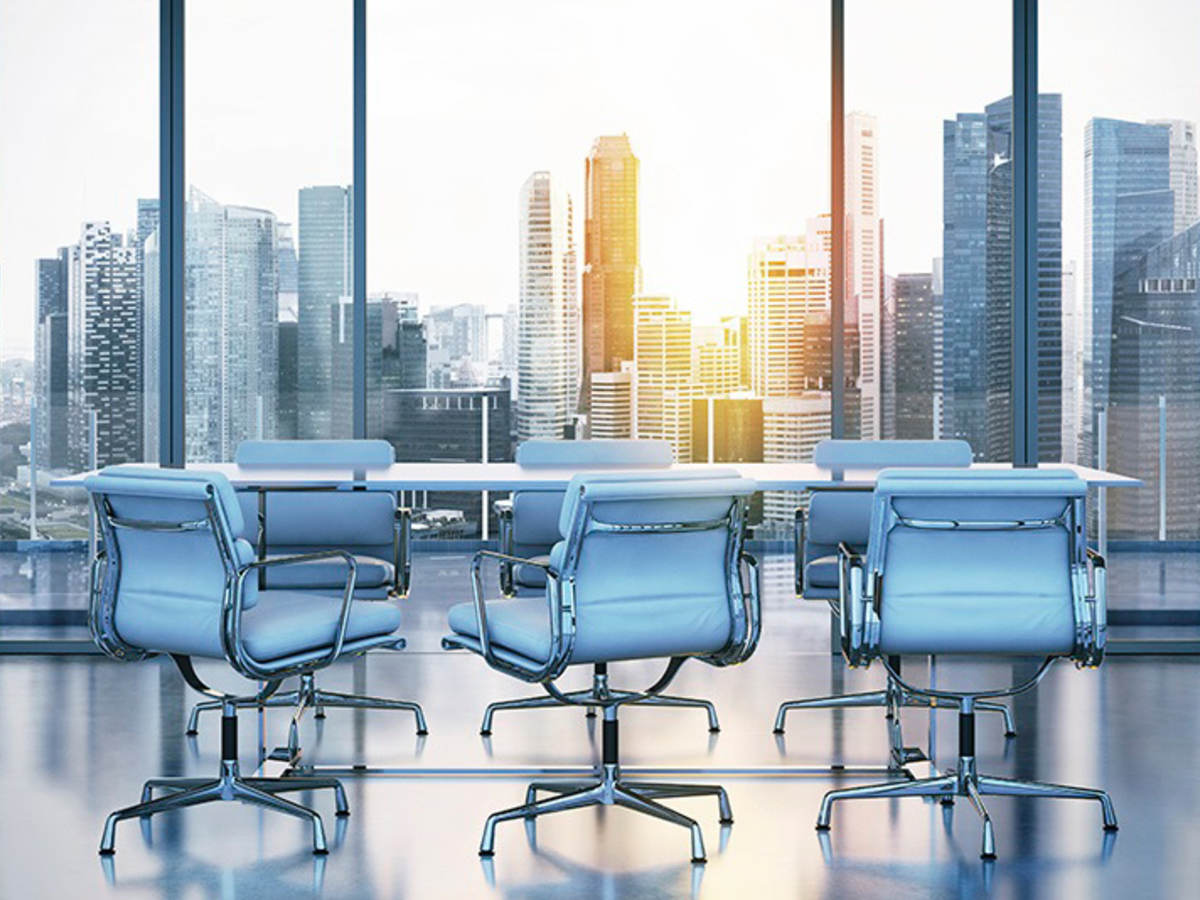Conference room overlooking city scape