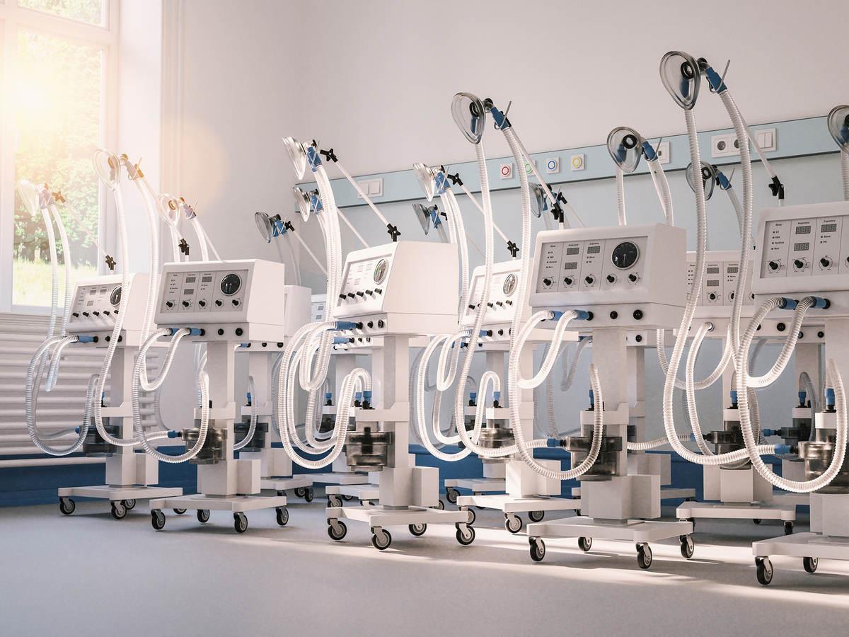 Multiple ventilators and respirators in stock in a clinic warehouse