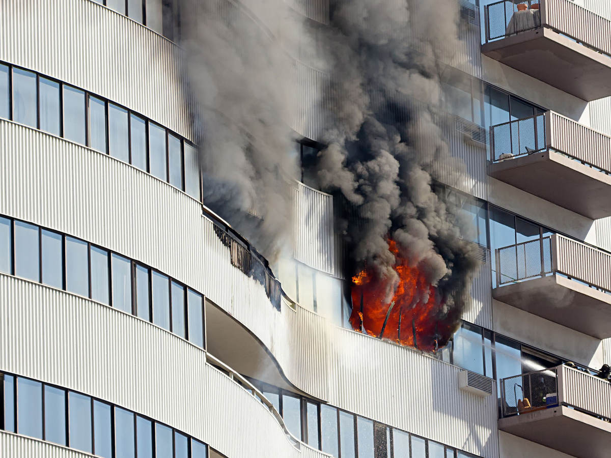 Photo of an exterior building fire