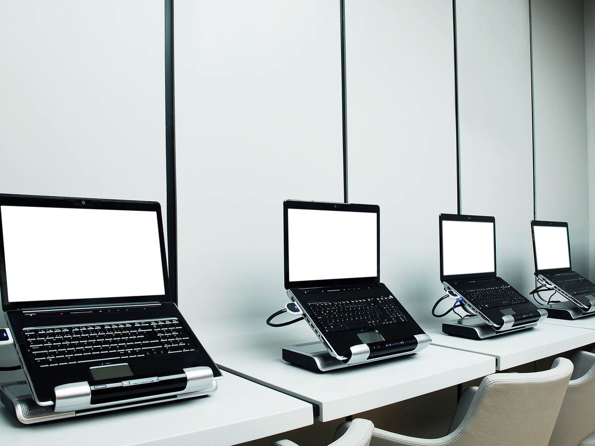 photo of a row of laptops