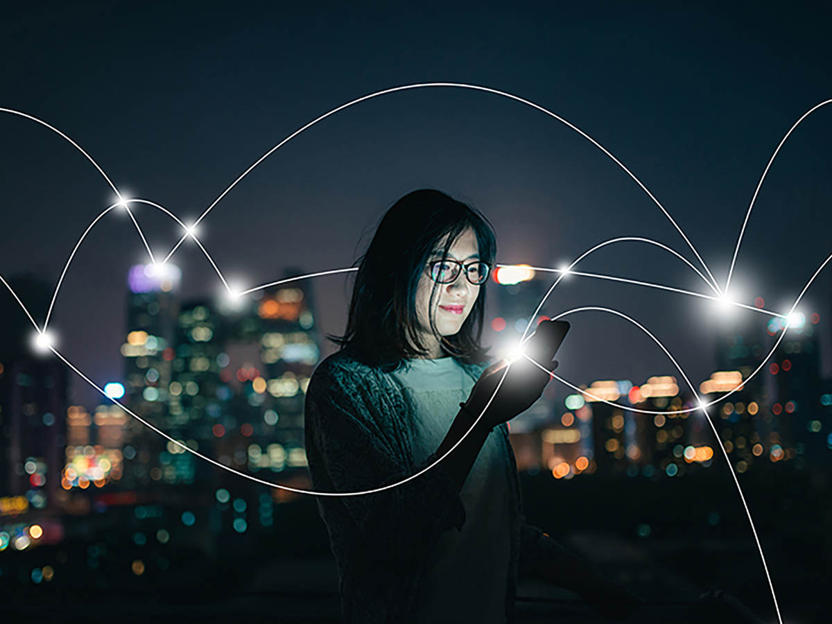 Depiction of social connecting in a smart city at night