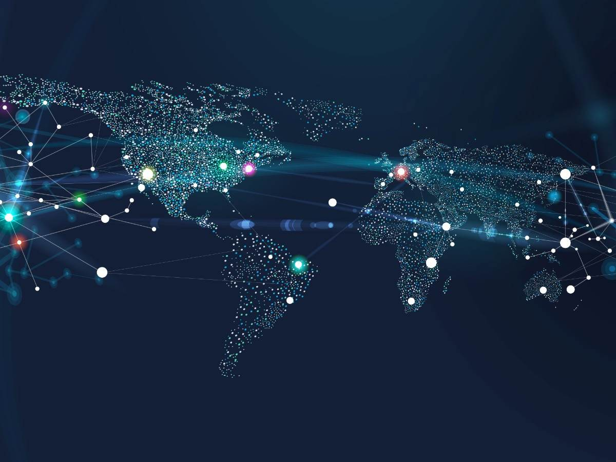 World map with network dots