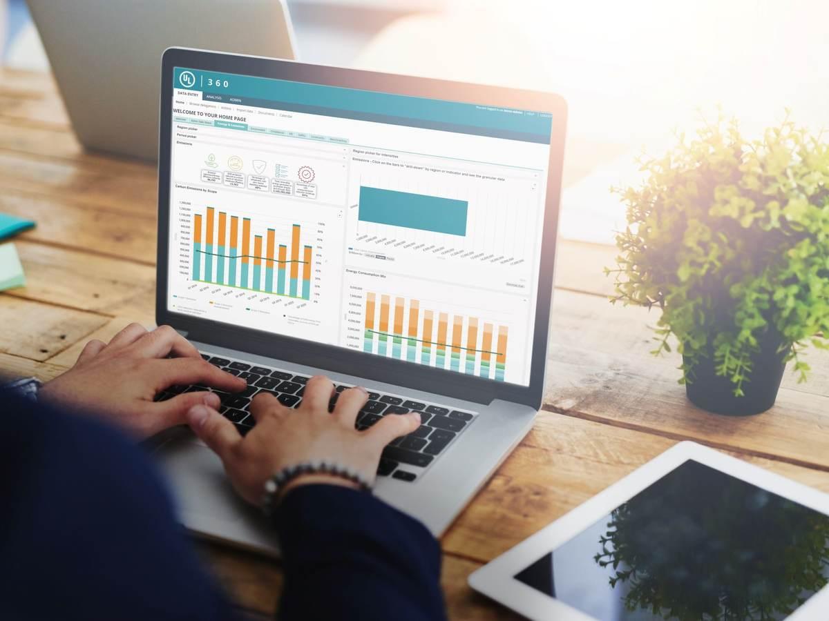 360 Sustainability software on laptop