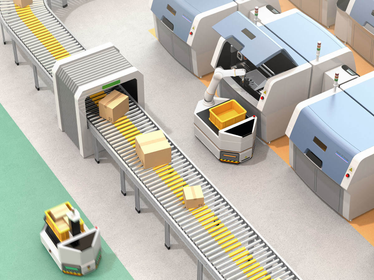 Industrial automated mobile platform with robotic arm in warehouse picking up products off the conveyor.